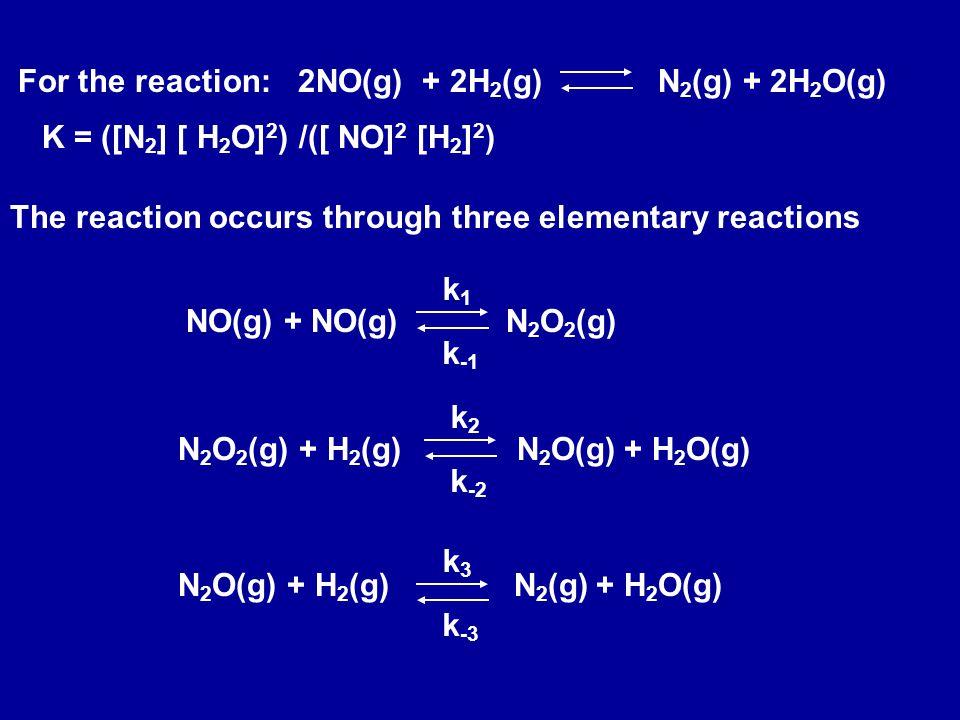 For the reaction:2NO(g) + 2H 2 (g) N 2 (g) + 2H 2 O(g) The reaction occurs through three elementary reactions NO(g) + NO(g) N 2 O 2 (g) k1k1 k -1 N 2