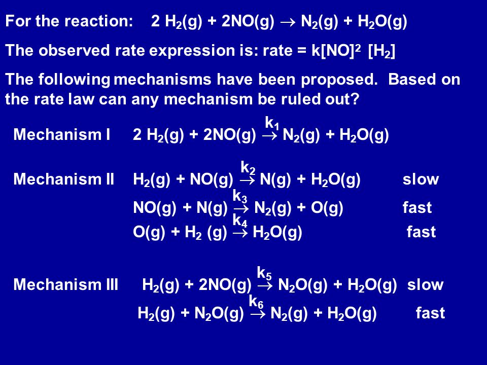 For the reaction:2 H 2 (g) + 2NO(g)  N 2 (g) + H 2 O(g) The observed rate expression is: rate = k[NO] 2 [H 2 ] The following mechanisms have been proposed.