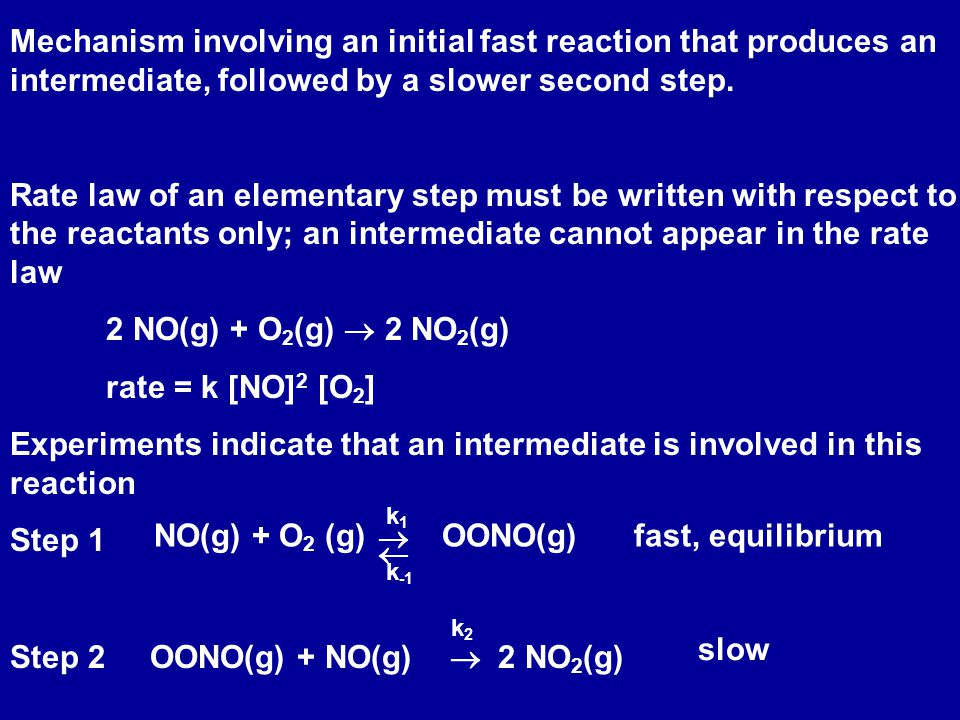 Mechanism involving an initial fast reaction that produces an intermediate, followed by a slower second step. Rate law of an elementary step must be w