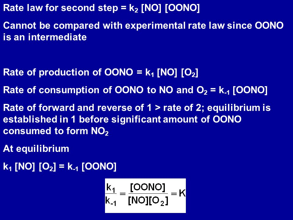Rate law for second step = k 2 [NO] [OONO] Cannot be compared with experimental rate law since OONO is an intermediate Rate of production of OONO = k