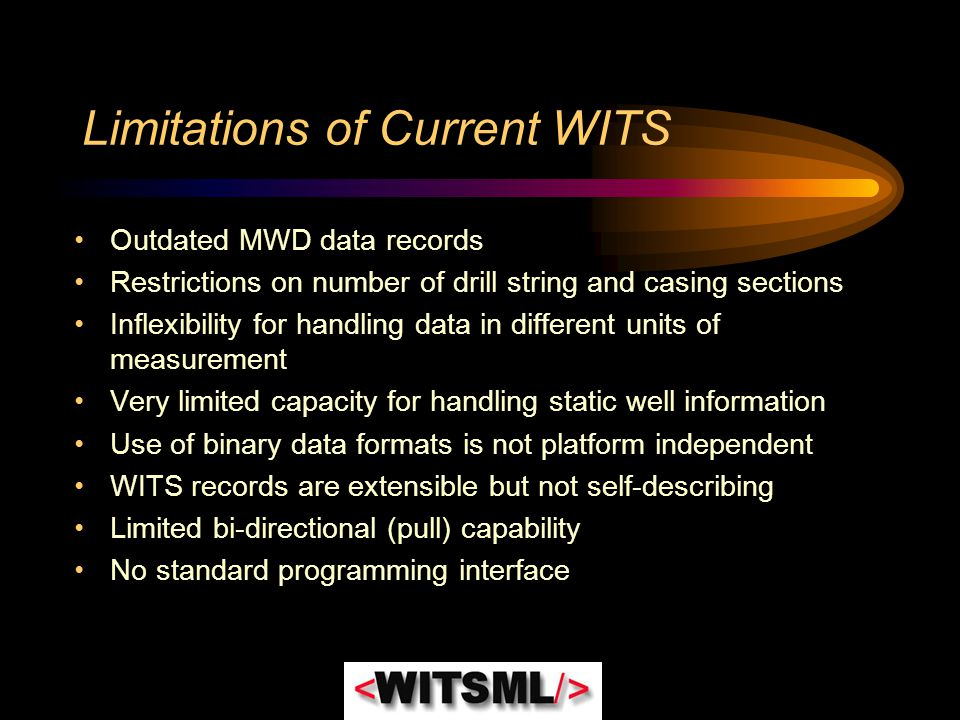 Limitations of Current WITS Outdated MWD data records Restrictions on number of drill string and casing sections Inflexibility for handling data in di