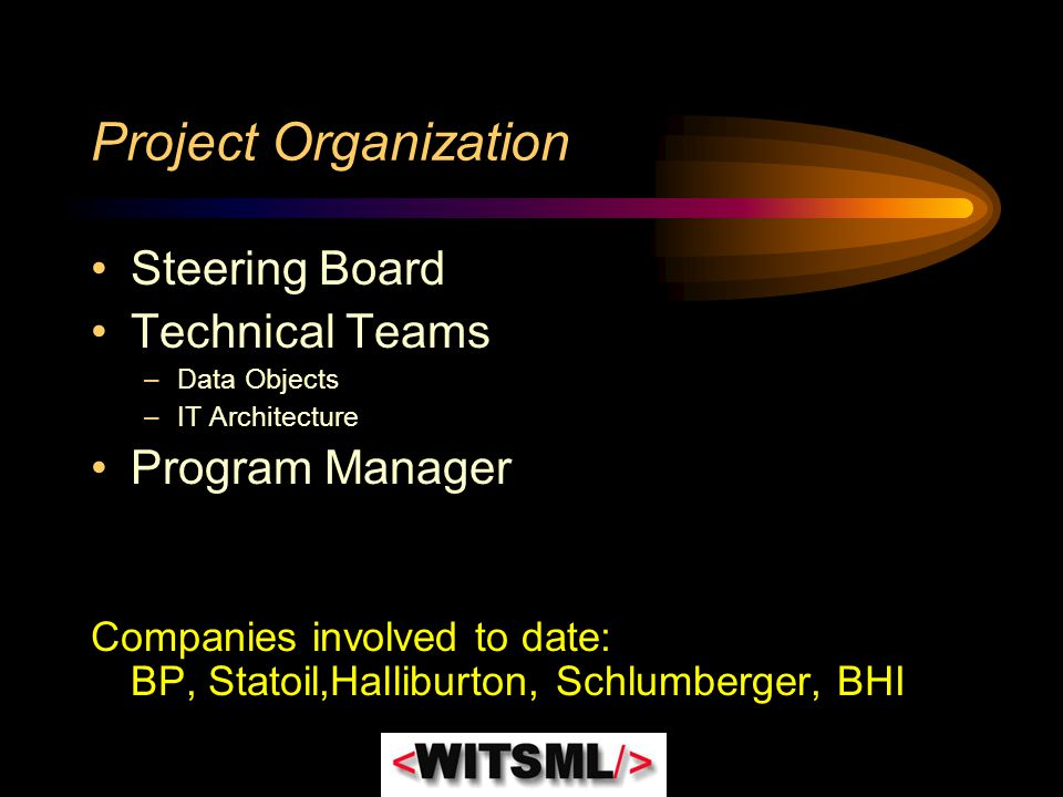 Project Organization Steering Board Technical Teams –Data Objects –IT Architecture Program Manager Companies involved to date: BP, Statoil,Halliburton