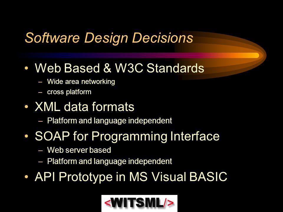 Software Design Decisions Web Based & W3C Standards –Wide area networking –cross platform XML data formats –Platform and language independent SOAP for