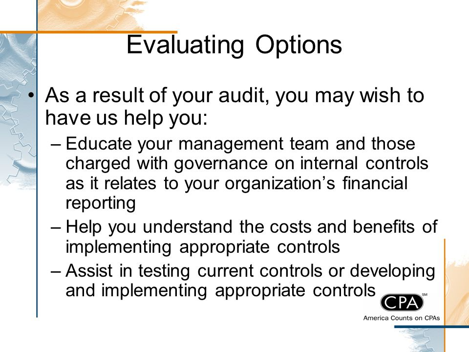 Evaluating Options As a result of your audit, you may wish to have us help you: –Educate your management team and those charged with governance on int