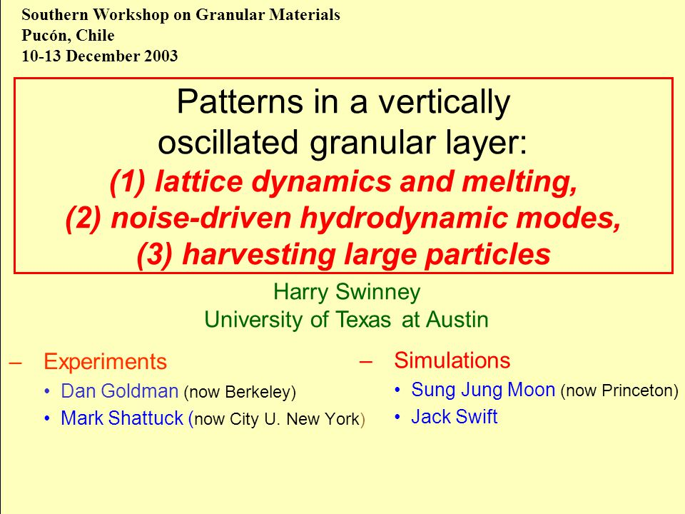 Patterns in a vertically oscillated granular layer: (1) lattice dynamics and melting, (2) noise-driven hydrodynamic modes, (3) harvesting large partic