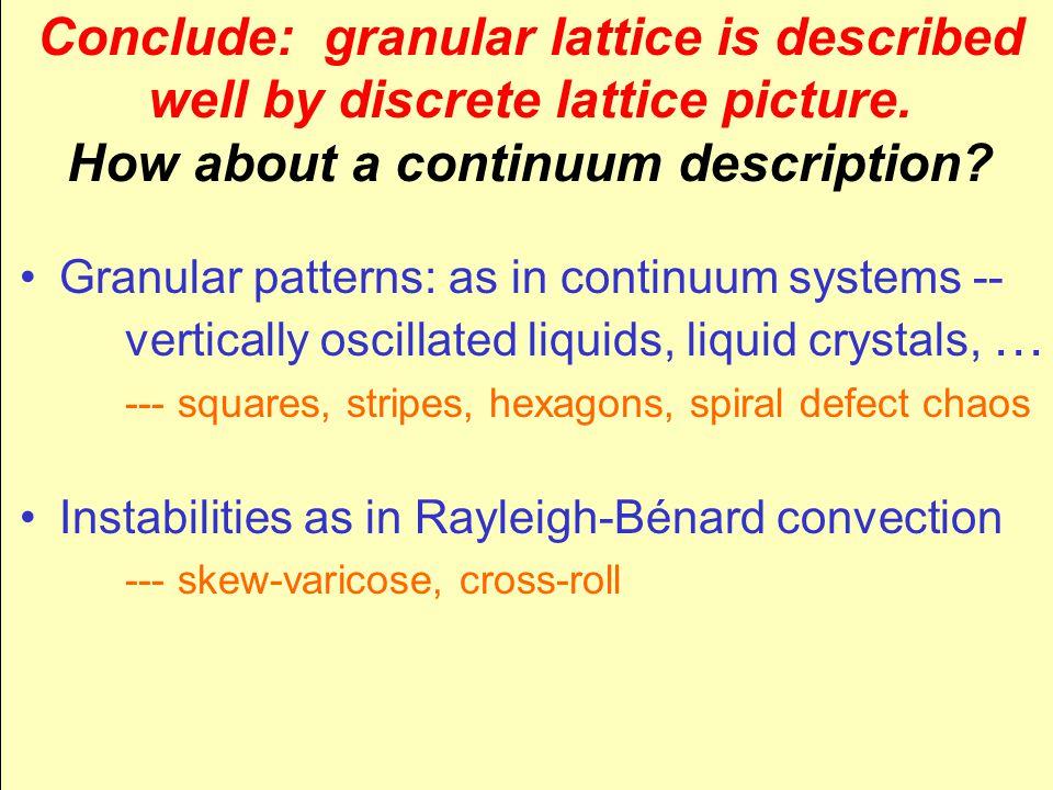 Conclude: granular lattice is described well by discrete lattice picture.