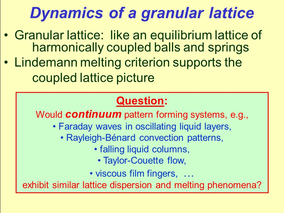 Dynamics of a granular lattice Granular lattice: like an equilibrium lattice of harmonically coupled balls and springs Lindemann melting criterion supports the coupled lattice picture Question: Would continuum pattern forming systems, e.g., Faraday waves in oscillating liquid layers, Rayleigh-Bénard convection patterns, falling liquid columns, Taylor-Couette flow, viscous film fingers, … exhibit similar lattice dispersion and melting phenomena?