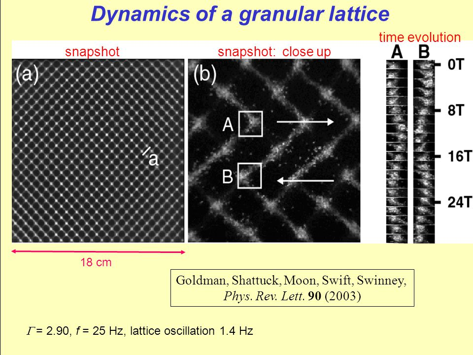 Dynamics of a granular lattice 18 cm Goldman, Shattuck, Moon, Swift, Swinney, Phys.