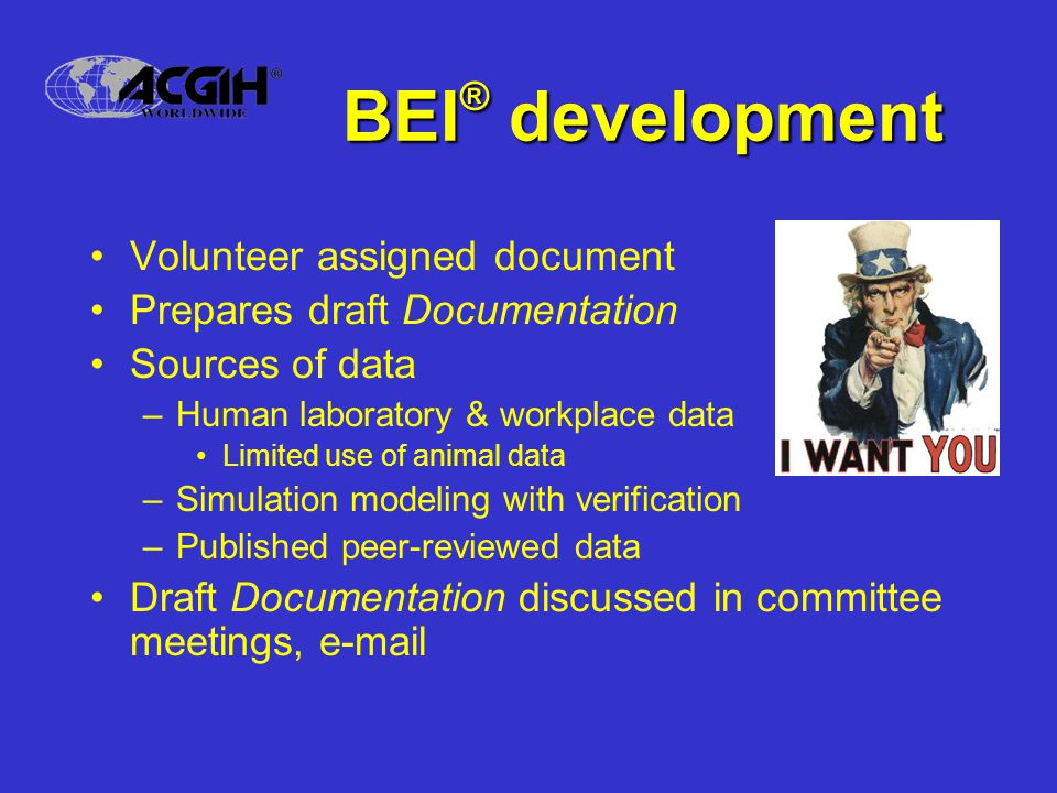 Volunteer assigned document Prepares draft Documentation Sources of data –Human laboratory & workplace data Limited use of animal data –Simulation modeling with verification –Published peer-reviewed data Draft Documentation discussed in committee meetings, e-mail BEI ® development