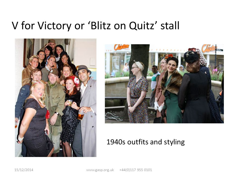 V for Victory or 'Blitz on Quitz' stall 1940s outfits and styling 15/12/2014www.gasp.org.uk +44(0)117 955 0101