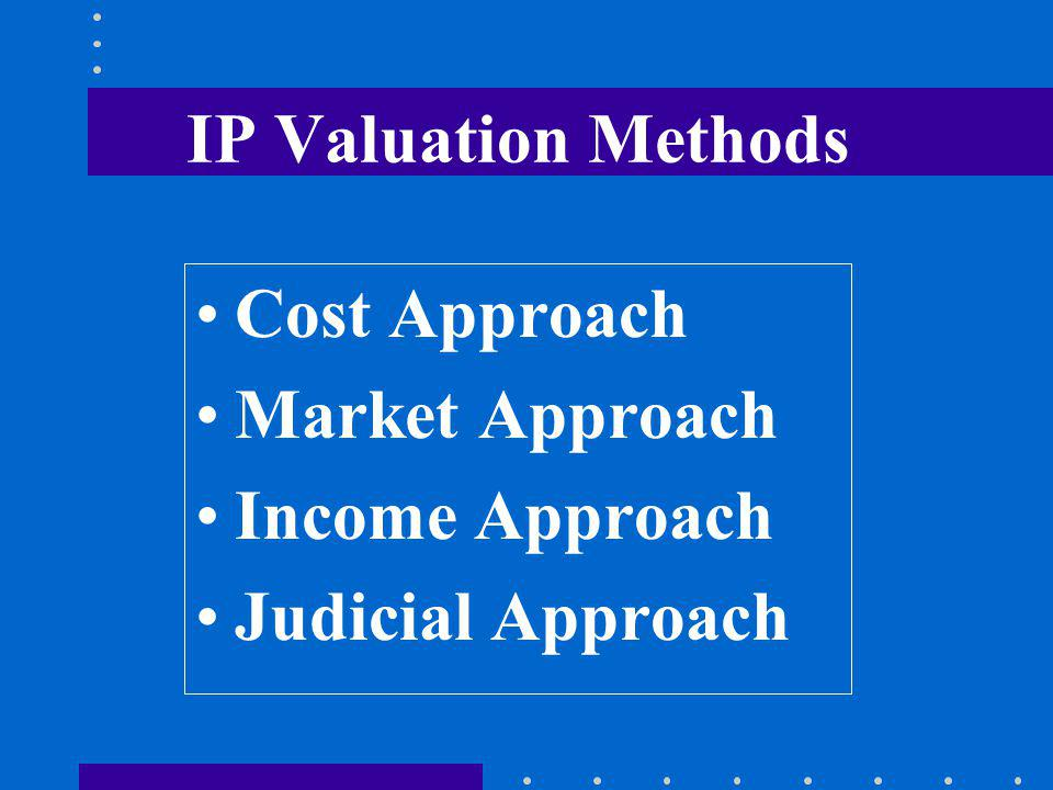 IP Valuation Methods Cost Approach Market Approach Income Approach Judicial Approach