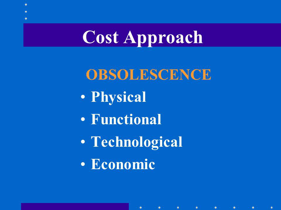Cost Approach OBSOLESCENCE Physical Functional Technological Economic