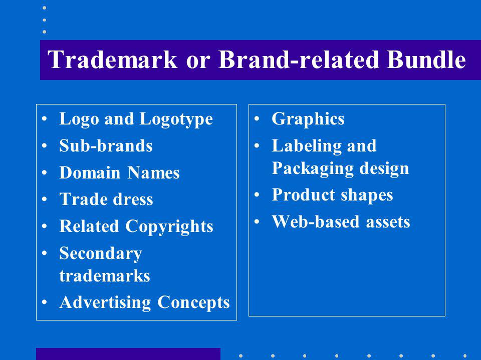 Trademark or Brand-related Bundle Logo and Logotype Sub-brands Domain Names Trade dress Related Copyrights Secondary trademarks Advertising Concepts Graphics Labeling and Packaging design Product shapes Web-based assets