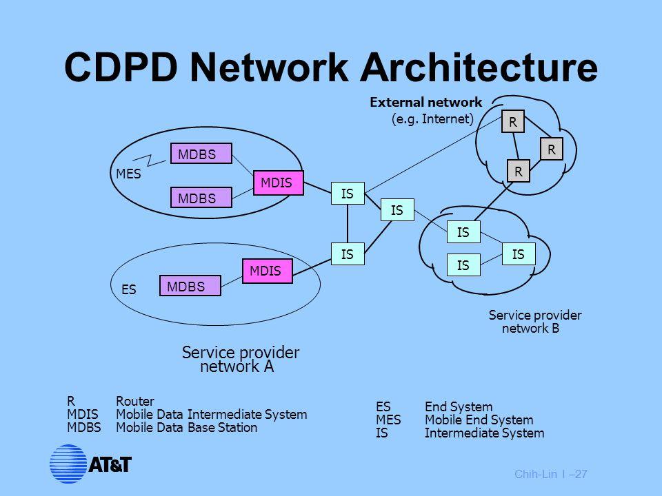 Chih-Lin I –27 CDPD Network Architecture Service provider network A Service provider network B External network (e.g.