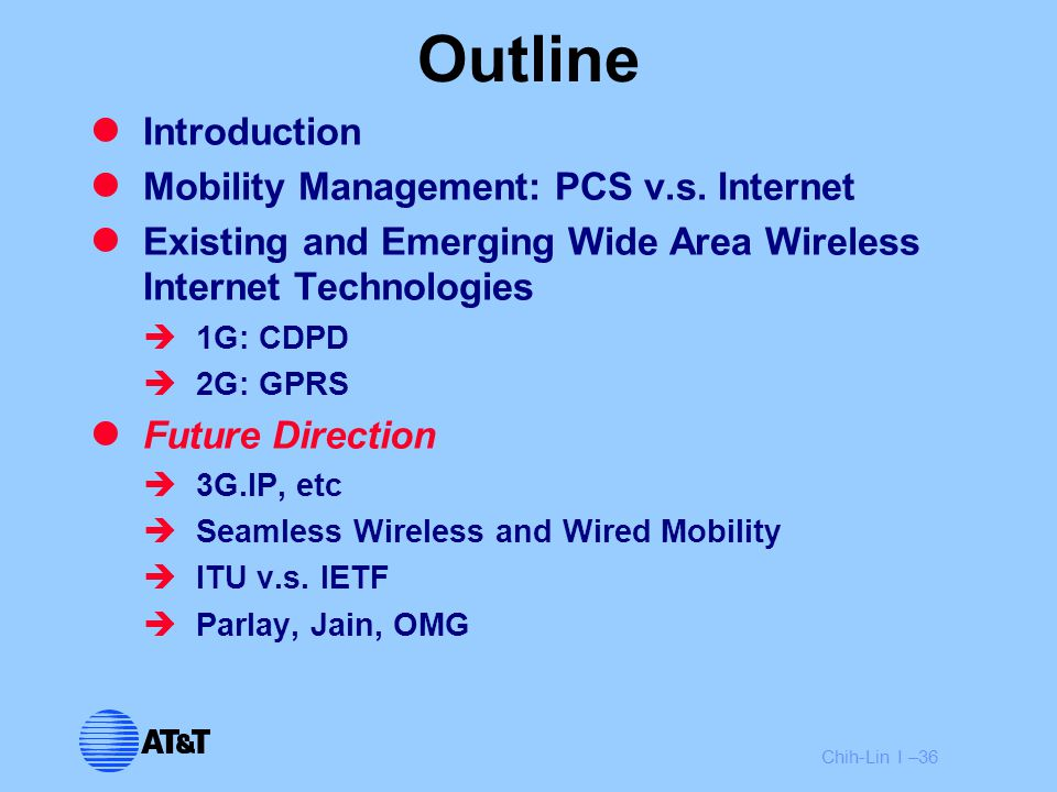 Chih-Lin I –36 Outline Introduction Mobility Management: PCS v.s. Internet Existing and Emerging Wide Area Wireless Internet Technologies  1G: CDPD 