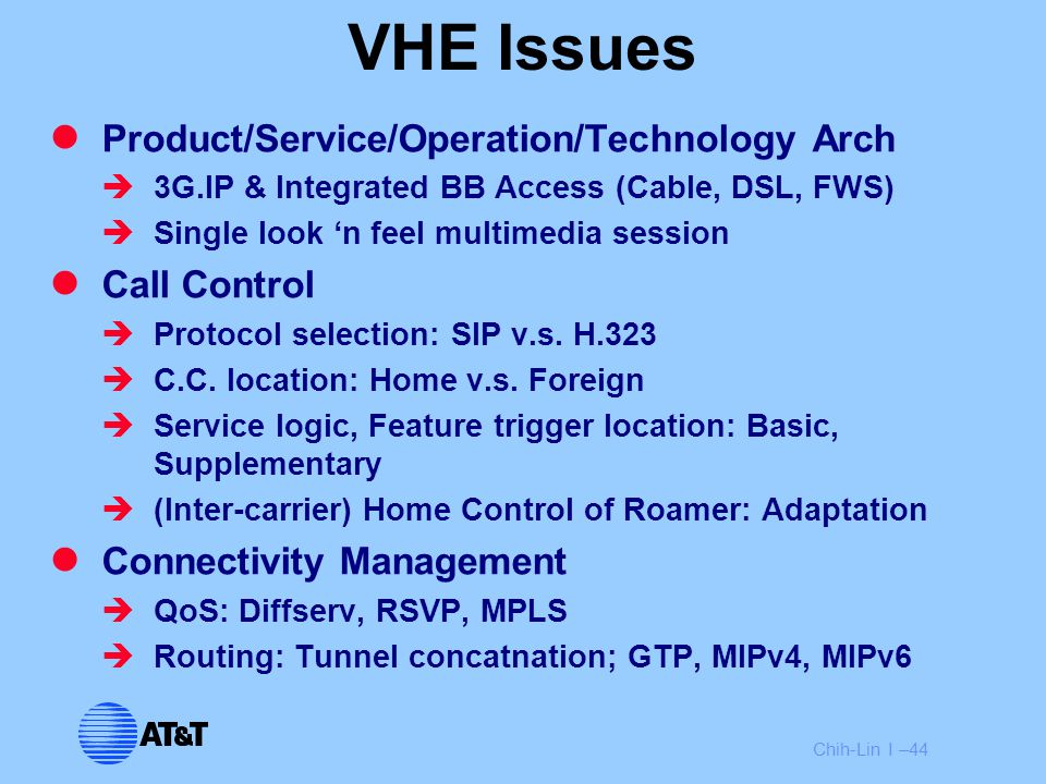 Chih-Lin I –44 VHE Issues Product/Service/Operation/Technology Arch  3G.IP & Integrated BB Access (Cable, DSL, FWS)  Single look 'n feel multimedia
