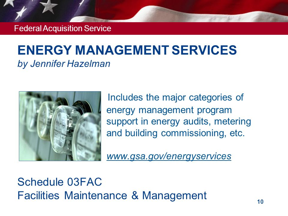 Federal Acquisition Service 10 ENERGY MANAGEMENT SERVICES by Jennifer Hazelman Includes the major categories of energy management program support in e