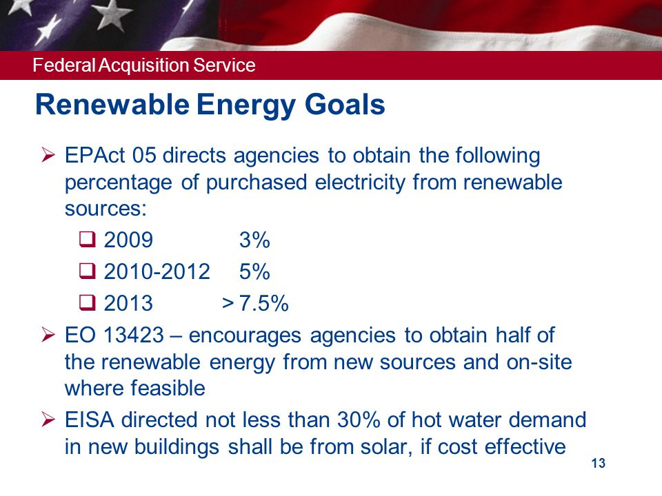 Federal Acquisition Service 13 Renewable Energy Goals  EPAct 05 directs agencies to obtain the following percentage of purchased electricity from renewable sources:  2009 3%  2010-20125%  2013 >7.5%  EO 13423 – encourages agencies to obtain half of the renewable energy from new sources and on-site where feasible  EISA directed not less than 30% of hot water demand in new buildings shall be from solar, if cost effective