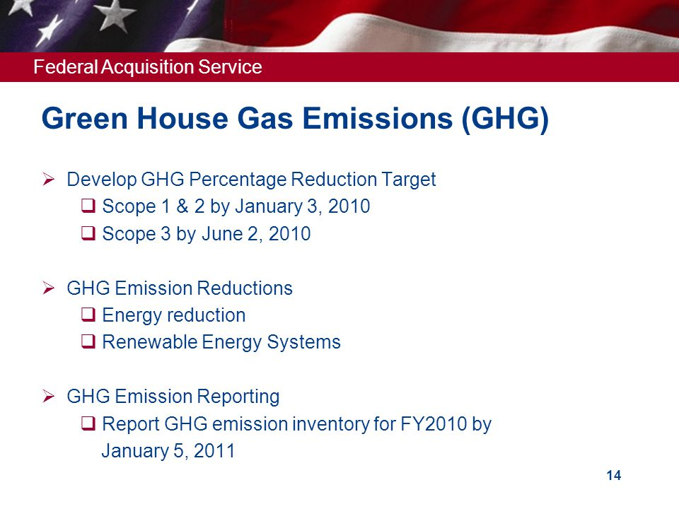 Federal Acquisition Service 14 Green House Gas Emissions (GHG)  Develop GHG Percentage Reduction Target  Scope 1 & 2 by January 3, 2010  Scope 3 by