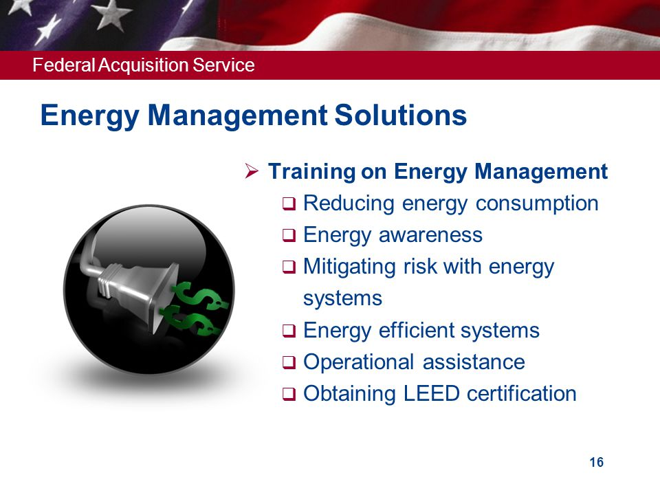 Federal Acquisition Service 16 Energy Management Solutions  Training on Energy Management  Reducing energy consumption  Energy awareness  Mitigating risk with energy systems  Energy efficient systems  Operational assistance  Obtaining LEED certification
