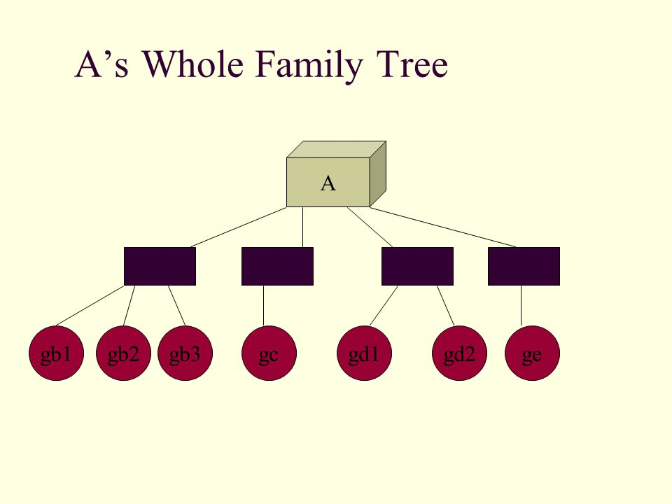 A's Whole Family Tree A BCED gb2gb1gb3gcgd1gd2ge