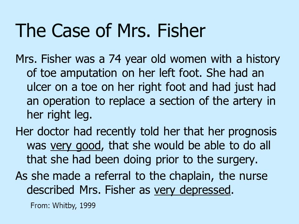 The Case of Mrs. Fisher Mrs.