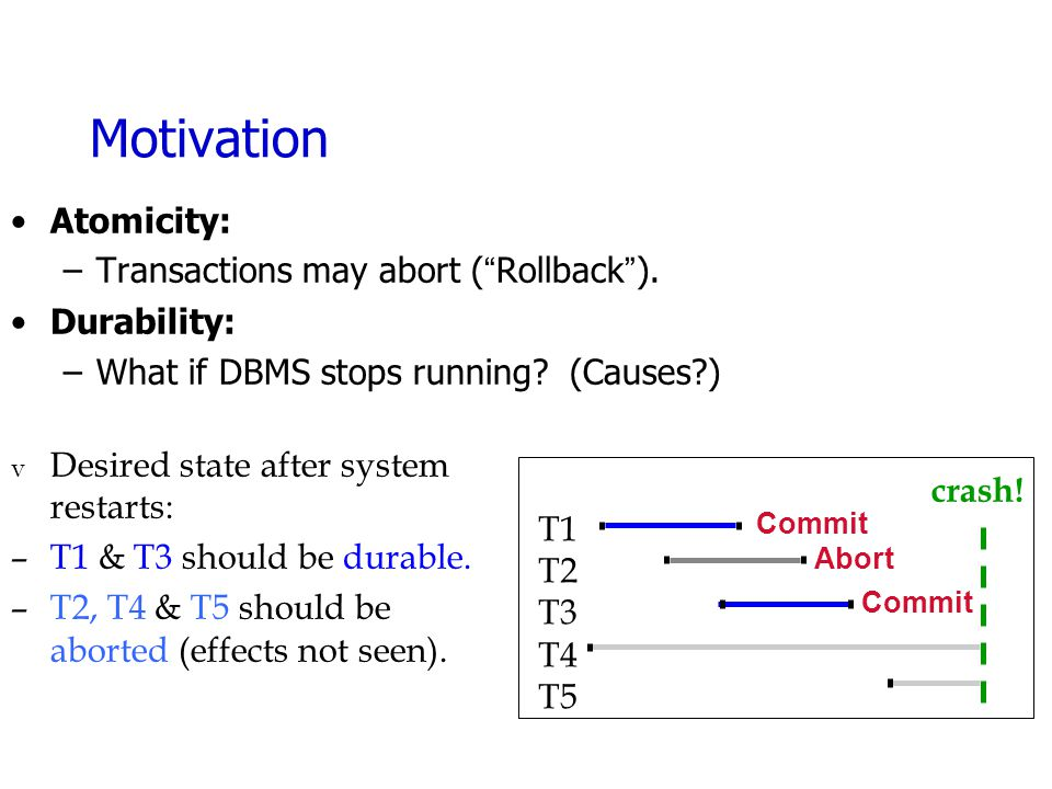 "Motivation Atomicity: –Transactions may abort (""Rollback""). Durability: –What if DBMS stops running? (Causes?) crash! v Desired state after system res"