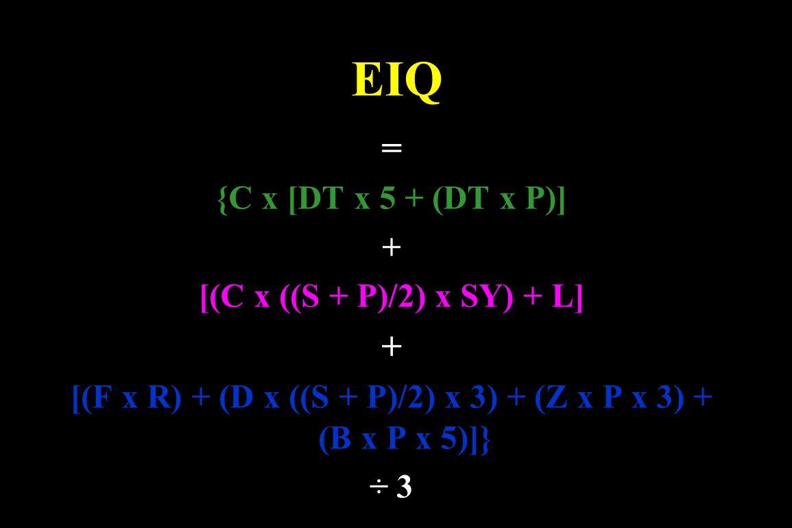 EIQ = {C x [DT x 5 + (DT x P)] + [(C x ((S + P)/2) x SY) + L] + [(F x R) + (D x ((S + P)/2) x 3) + (Z x P x 3) + (B x P x 5)]} ÷ 3