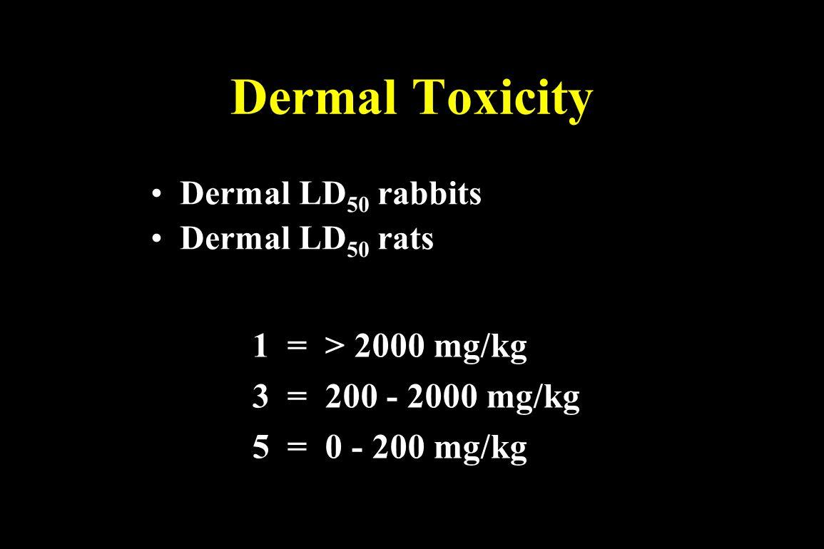 Dermal Toxicity Dermal LD 50 rabbits Dermal LD 50 rats 1 = > 2000 mg/kg 3 = 200 - 2000 mg/kg 5 = 0 - 200 mg/kg