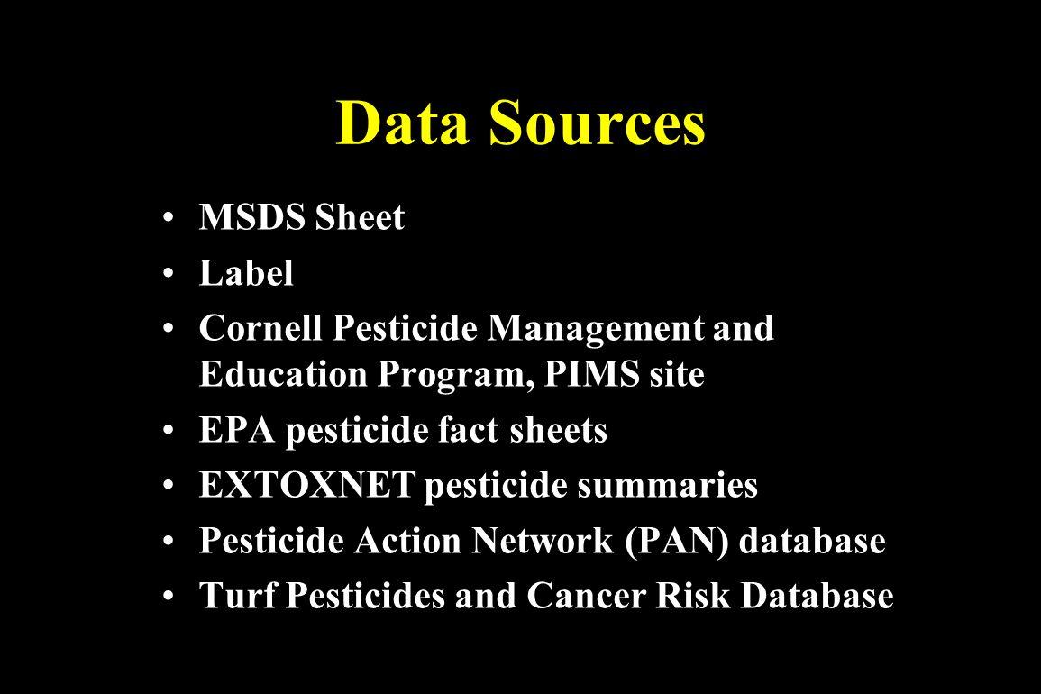 Data Sources MSDS Sheet Label Cornell Pesticide Management and Education Program, PIMS site EPA pesticide fact sheets EXTOXNET pesticide summaries Pes