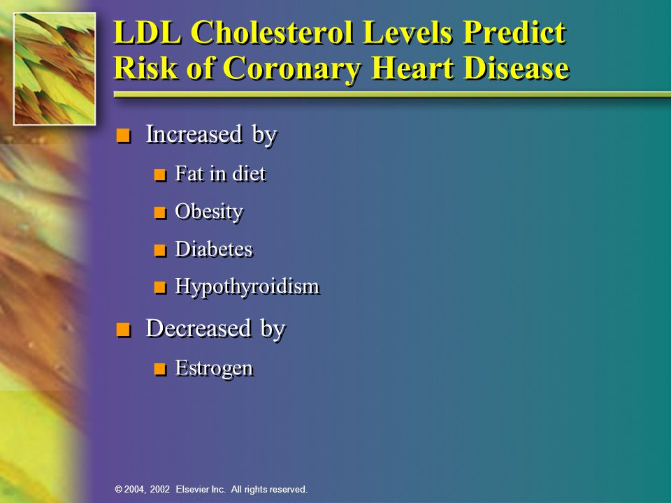 © 2004, 2002 Elsevier Inc. All rights reserved. LDL Cholesterol Levels Predict Risk of Coronary Heart Disease n Increased by n Fat in diet n Obesity n