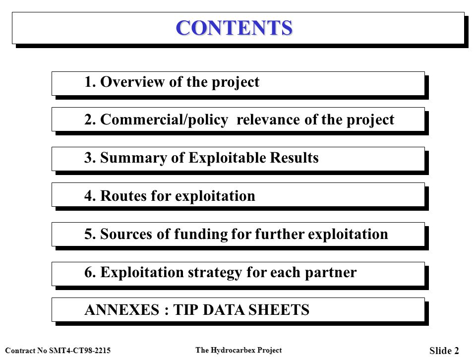 Contract No SMT4-CT98-2215 Slide 2 The Hydrocarbex Project CONTENTS 1. Overview of the project 2. Commercial/policy relevance of the project 3. Summar