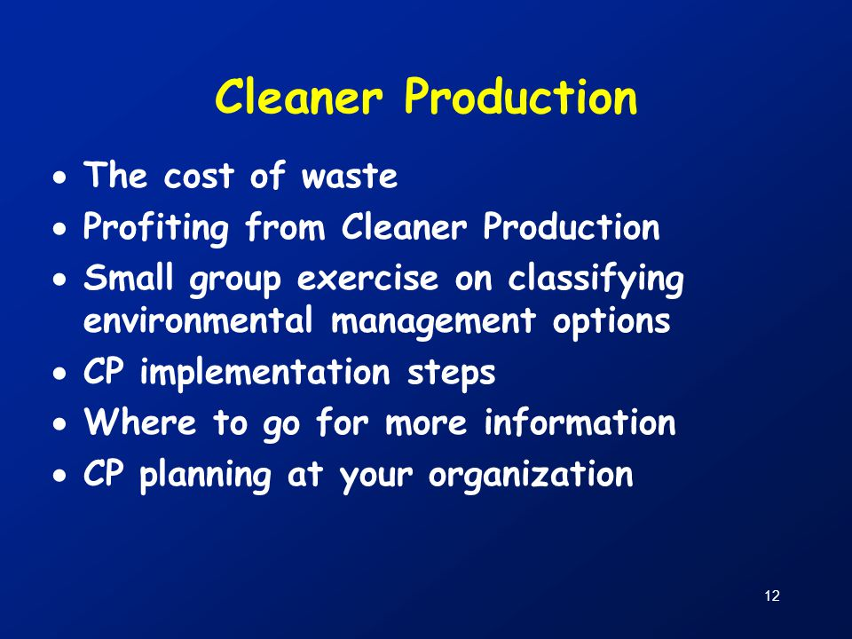 12 Cleaner Production  The cost of waste  Profiting from Cleaner Production  Small group exercise on classifying environmental management options 