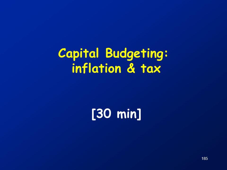 185 Capital Budgeting: inflation & tax [30 min]