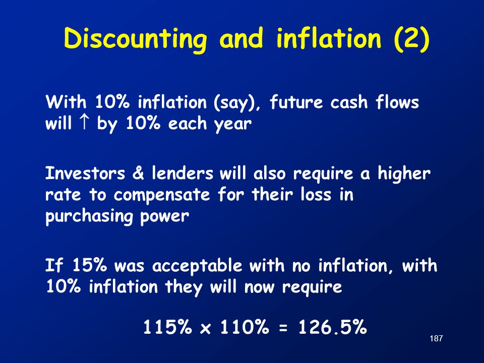 187 Discounting and inflation (2) With 10% inflation (say), future cash flows will  by 10% each year Investors & lenders will also require a higher r