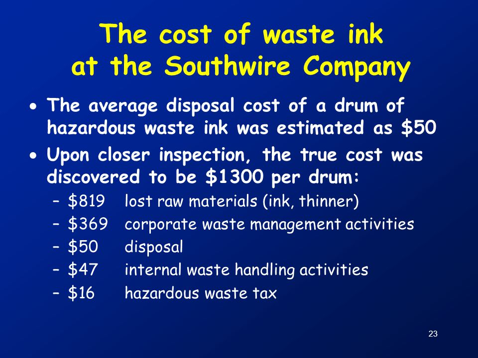 23 The cost of waste ink at the Southwire Company  The average disposal cost of a drum of hazardous waste ink was estimated as $50  Upon closer insp