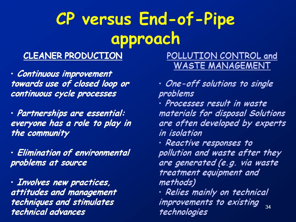 34 CP versus End-of-Pipe approach CLEANER PRODUCTION Continuous improvement towards use of closed loop or continuous cycle processes Partnerships are