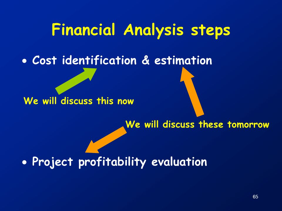 65 Financial Analysis steps  Cost identification & estimation  Project profitability evaluation We will discuss this now We will discuss these tomor