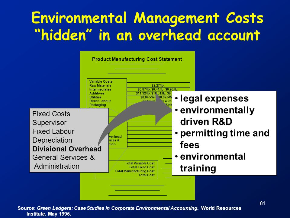"""81 Source: Green Ledgers: Case Studies in Corporate Environmental Accounting. World Resources Institute. May 1995. Environmental Management Costs """"hid"""