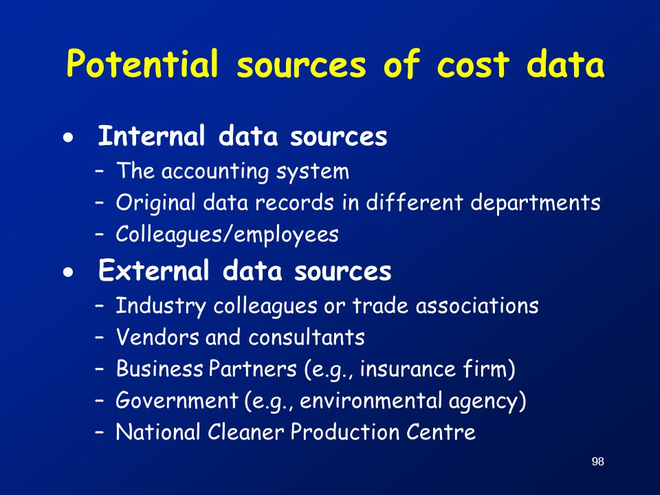 98 Potential sources of cost data  Internal data sources –The accounting system –Original data records in different departments –Colleagues/employees