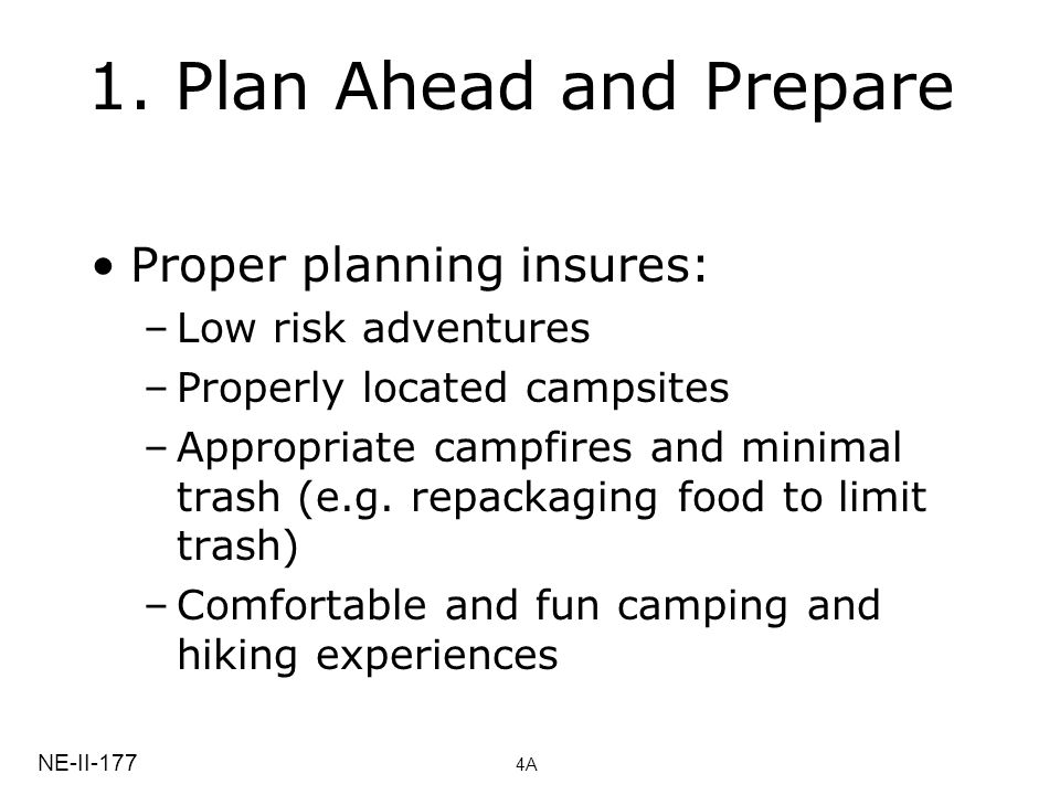 1. Plan Ahead and Prepare Proper planning insures: –Low risk adventures –Properly located campsites –Appropriate campfires and minimal trash (e.g. rep