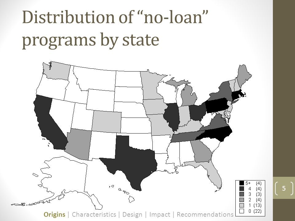 Distribution of no-loan programs by state 5 Origins | Characteristics | Design | Impact | Recommendations