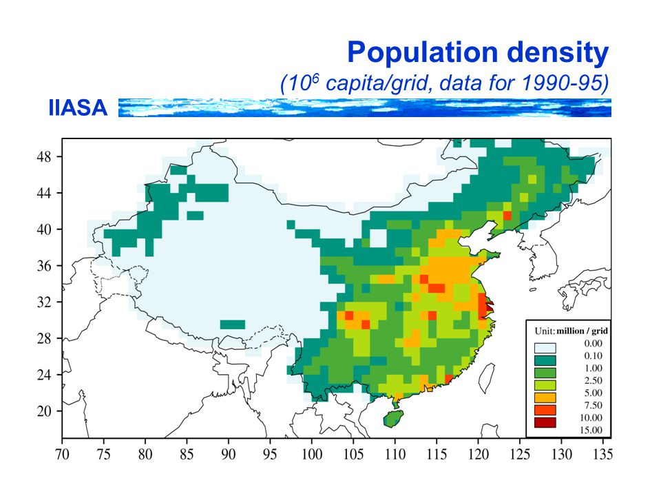 IIASA Population density (10 6 capita/grid, data for 1990-95)