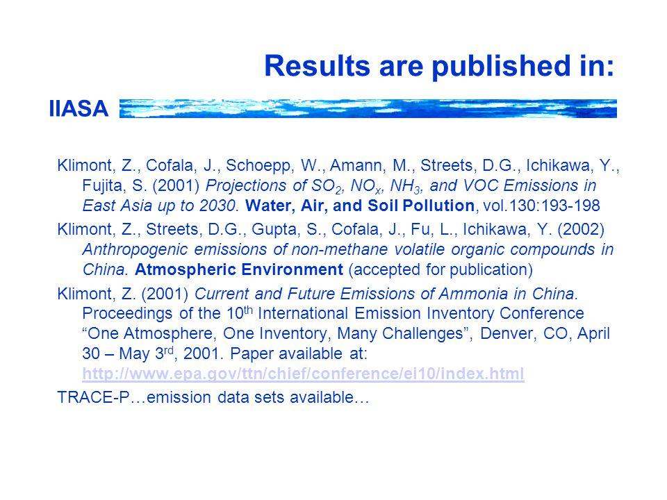 IIASA Results are published in: Klimont, Z., Cofala, J., Schoepp, W., Amann, M., Streets, D.G., Ichikawa, Y., Fujita, S. (2001) Projections of SO 2, N