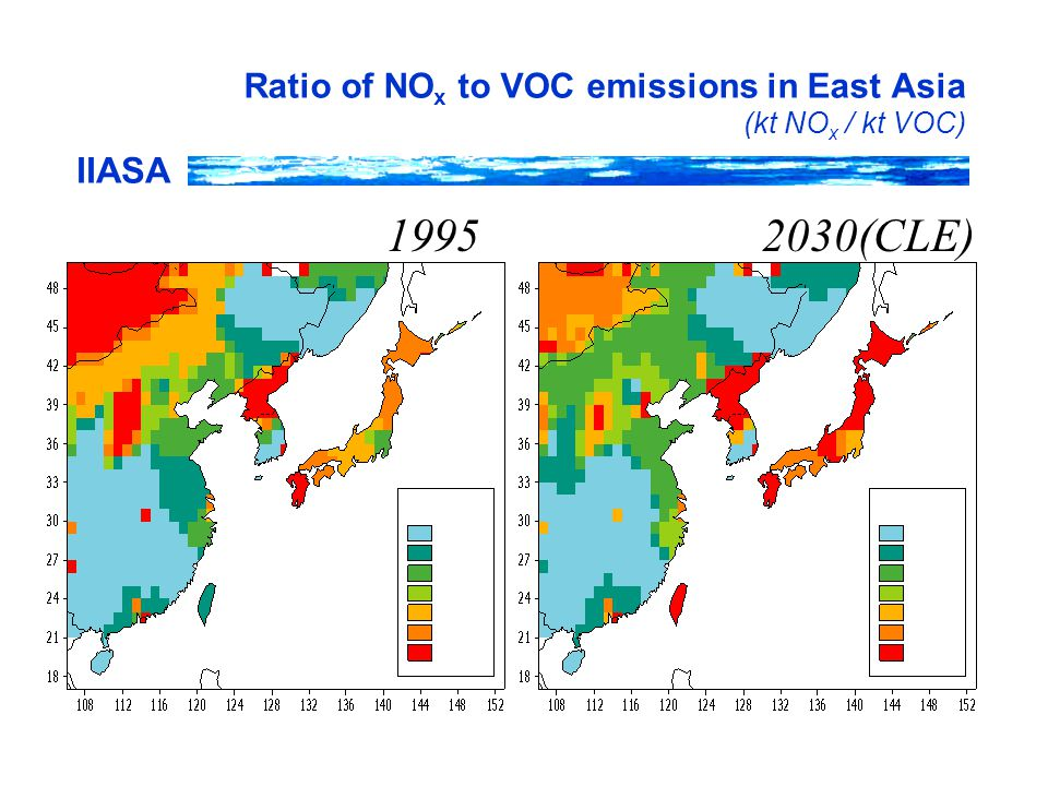 IIASA Ratio of NO x to VOC emissions in East Asia (kt NO x / kt VOC) 19952030(CLE)