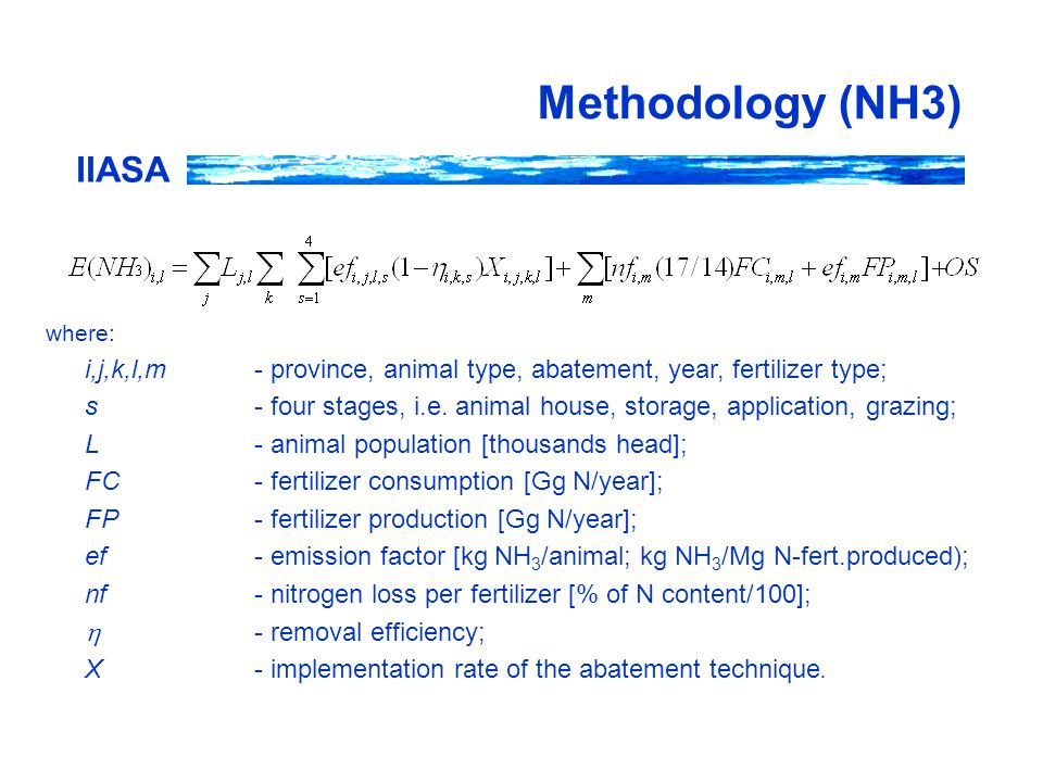 IIASA Methodology (NH3) where: i,j,k,l,m- province, animal type, abatement, year, fertilizer type; s- four stages, i.e.