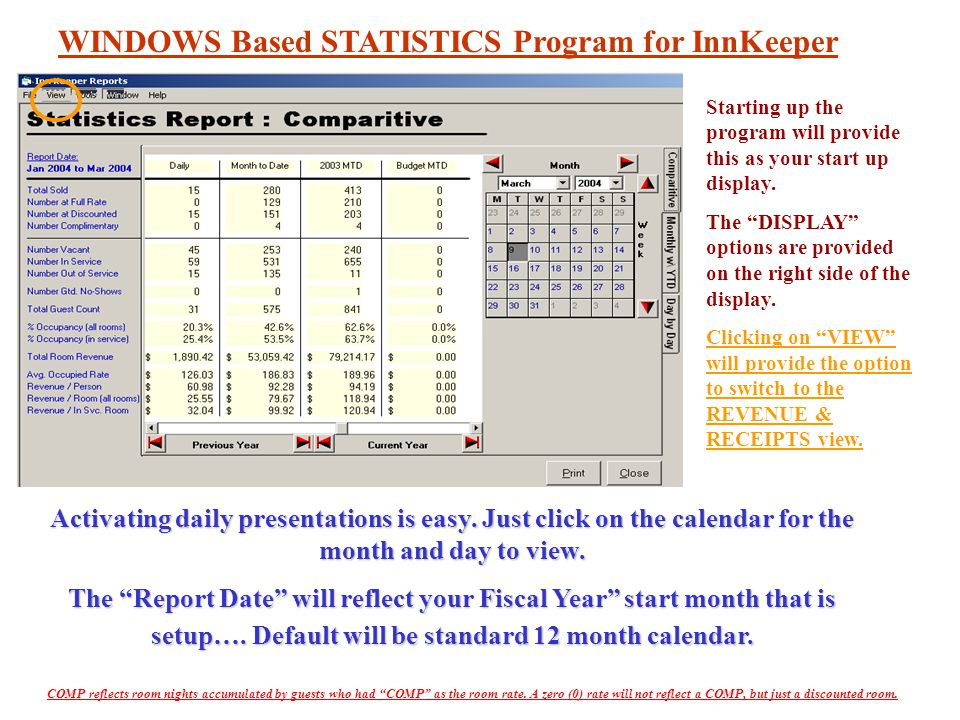 Uses the same symbols as Housekeeping WINDOWS Based STATISTICS Program for InnKeeper Uses the same symbols as Housekeeping Starting up the program will provide this as your start up display.
