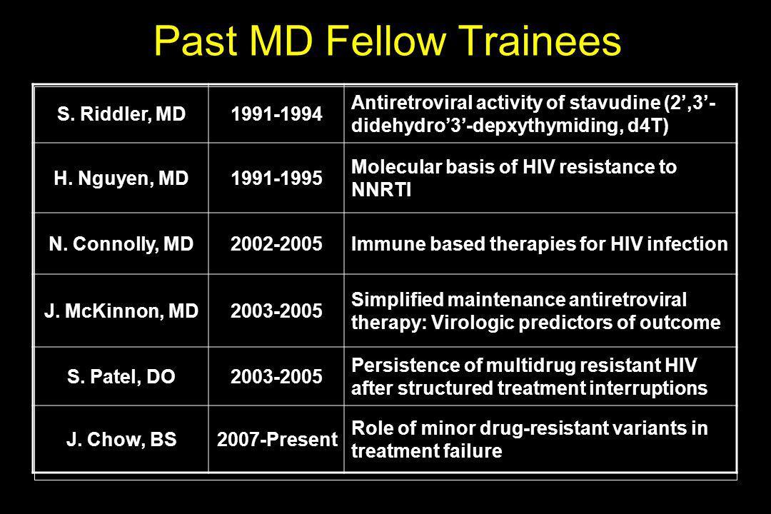 S. Riddler, MD1991-1994 Antiretroviral activity of stavudine (2',3'- didehydro'3'-depxythymiding, d4T) H. Nguyen, MD1991-1995 Molecular basis of HIV r