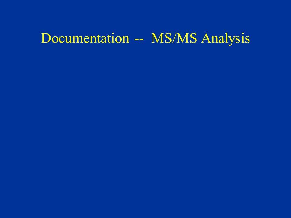 Documentation -- MS/MS Analysis