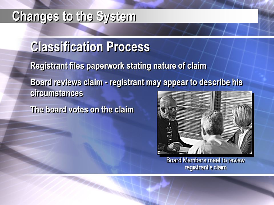 Classification Process Registrant files paperwork stating nature of claim Board reviews claim - registrant may appear to describe his circumstances Th